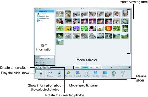 "The iPhoto window contains all the settings you need to import, organize, edit, and ""book"" your photos."