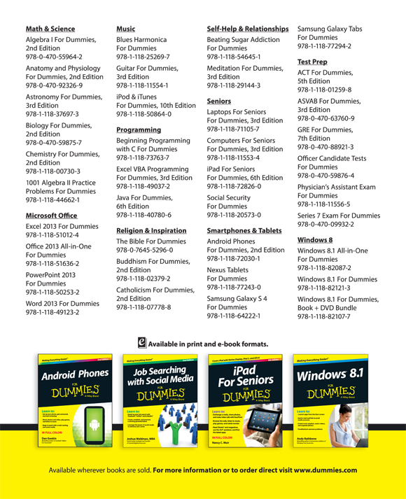 Advertisement Page - Samsung Galaxy Tab S For Dummies [Book]