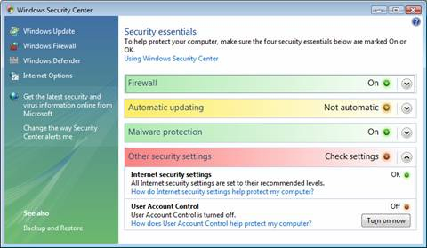 The Windows Security Center shows us the status of security in Vista