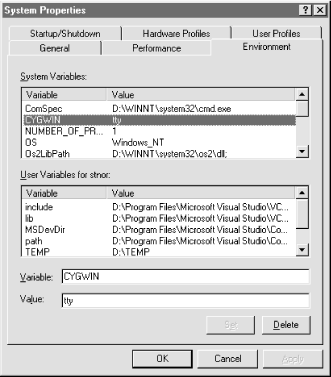 The System Properties dialog box