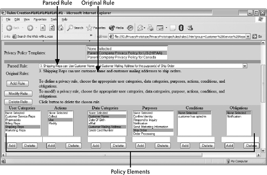 Expanded view of the SPARCLE structured privacy policy rule creation
