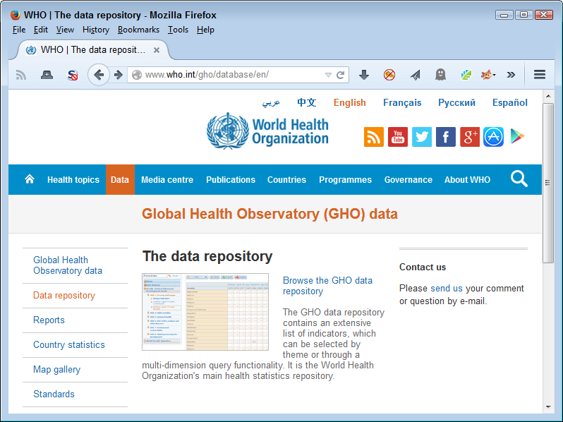 Some repositories, such as the WHO database, are downloadable