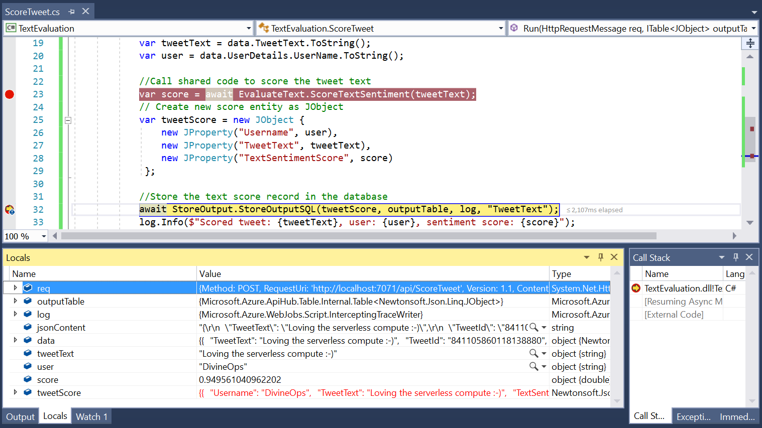 Debugging functions with Visual Studio - Serverless computing in