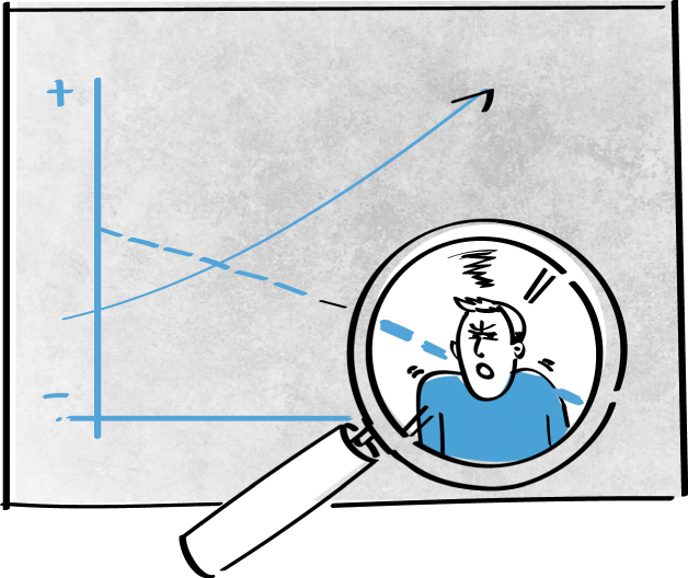 Illustration of a magnifying glass viewing a frowning man at the end of a decreasing curve on a graph.