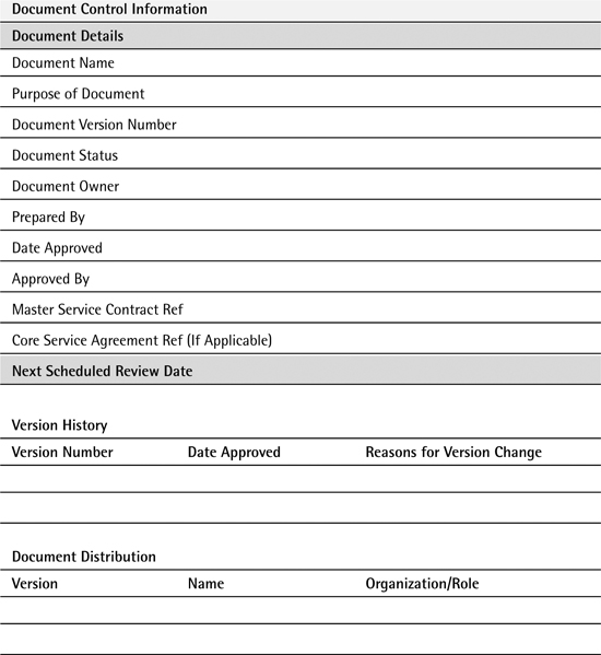 Appendix C Service Agreement Template Service