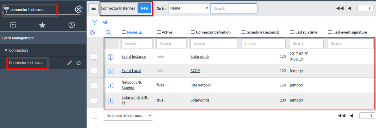 Configuring a connector instance - ServiceNow IT Operations