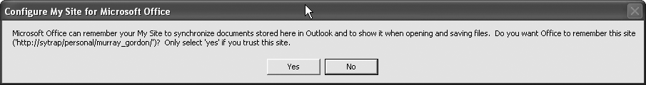 Creating your My Site prompts you for integration into Outlook