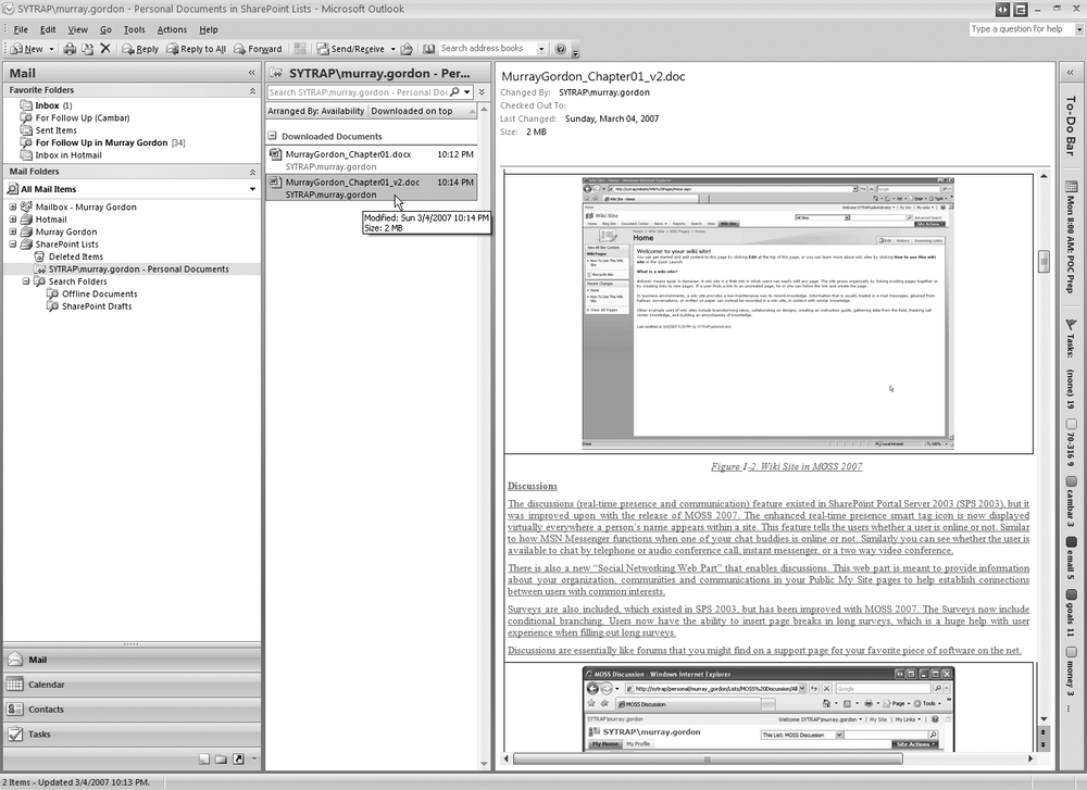 The same MOSS Personal Documents viewable in Outlook 2007