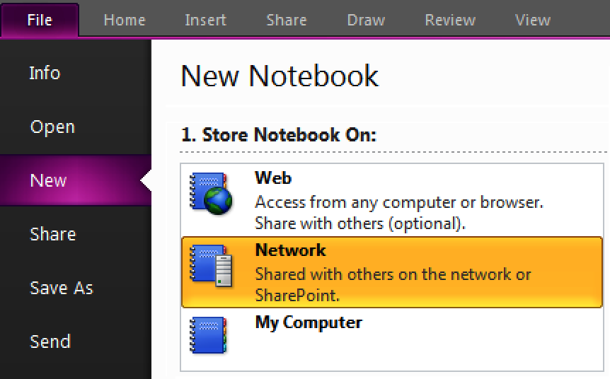 Store the new notebook on the network