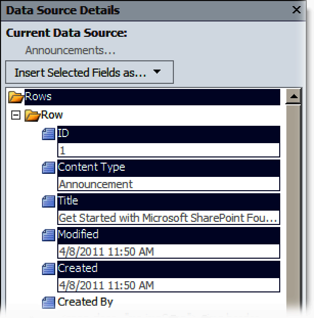 Selecting columns to display a DVWP based on an Announcements list