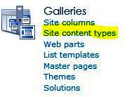 Click Site content types in Site Settings