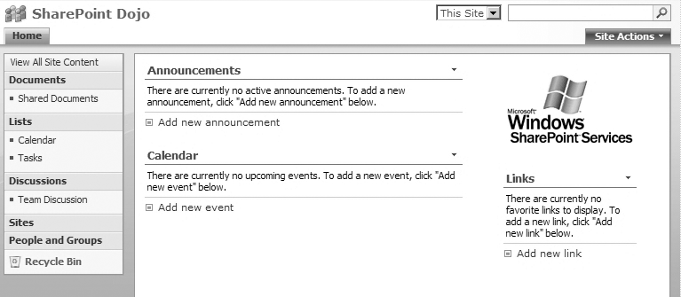 A SharePoint site using a WSS site template