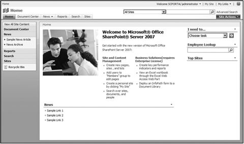 A SharePoint site using a MOSS site template