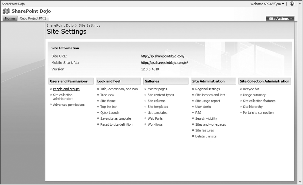 Site Settings page