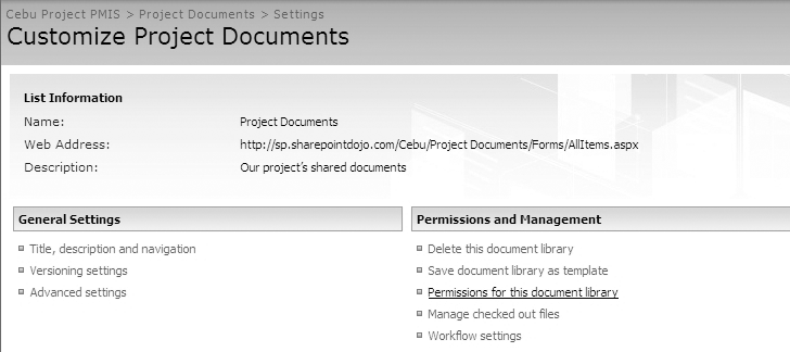 Accessing Permissions for this document library