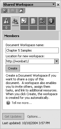 4  Workspaces with Excel - SharePoint Office Pocket Guide [Book]