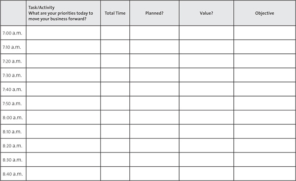 appendix c daily time management log smart prospecting that works