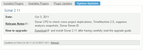 Upgrading Sonar from the Update Center section