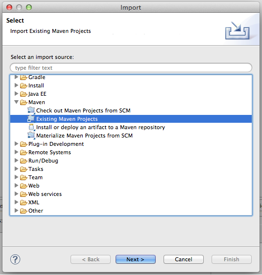Importing Maven projects into Eclipse (step 1 of 2)
