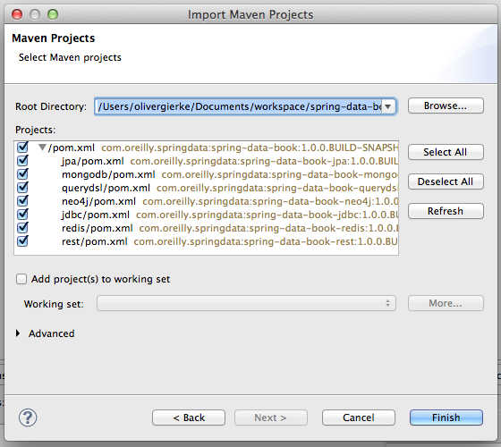 Importing Maven projects into Eclipse (step 2 of 2)