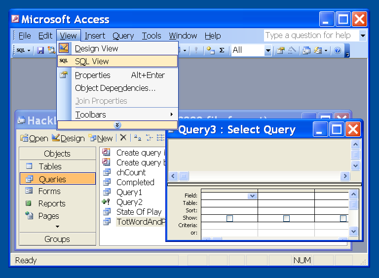 Getting to SQL View on a new query