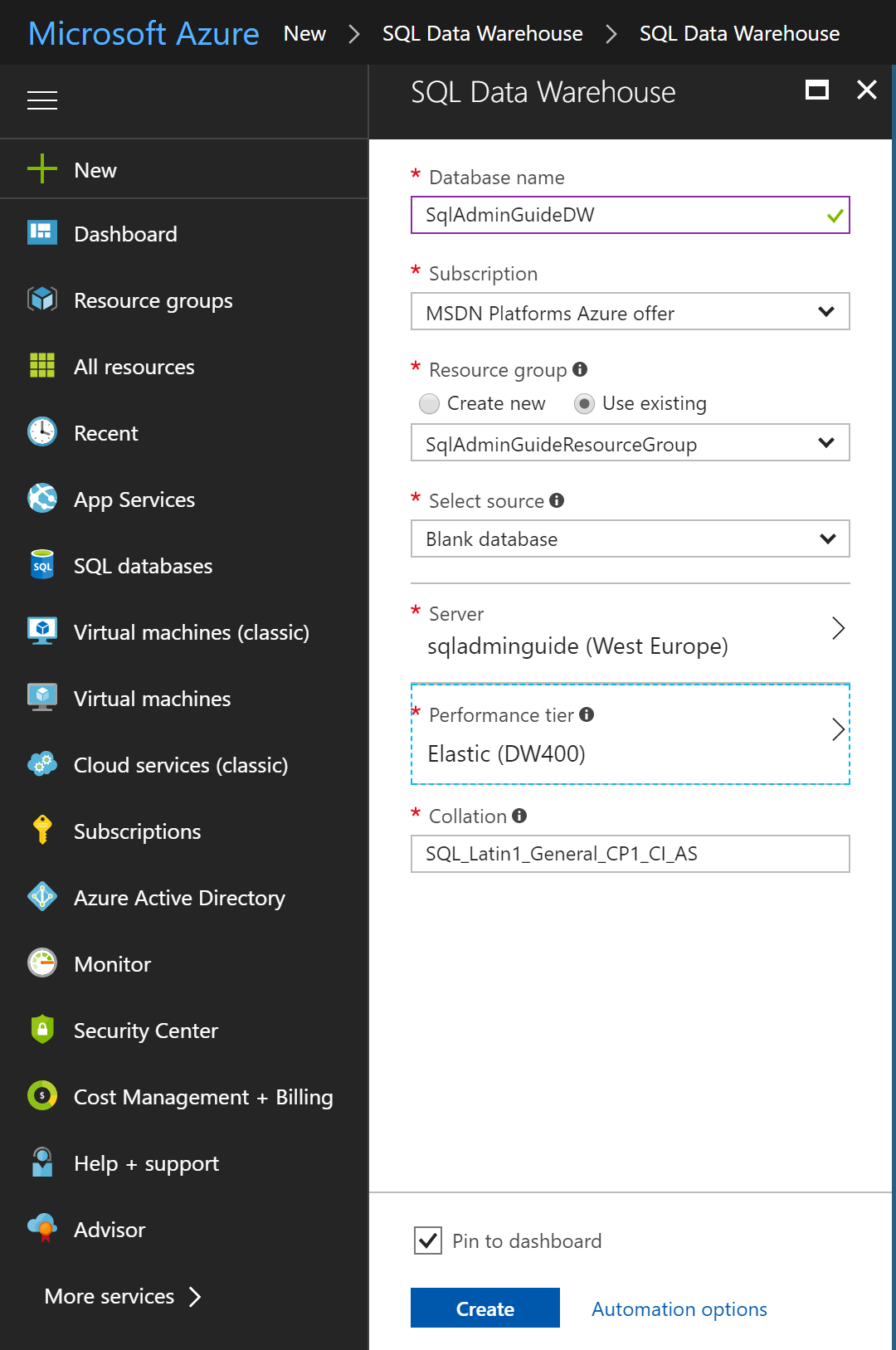 Creating Azure SQL Data Warehouse - SQL Server 2017 Administrator's
