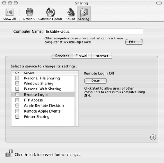 Enabling the SSH server in System Preferences