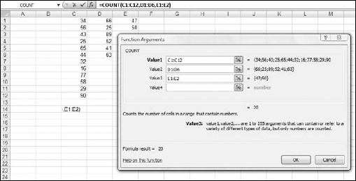 The Function Arguments Dialog Box for COUNT, showing multiple arguments.