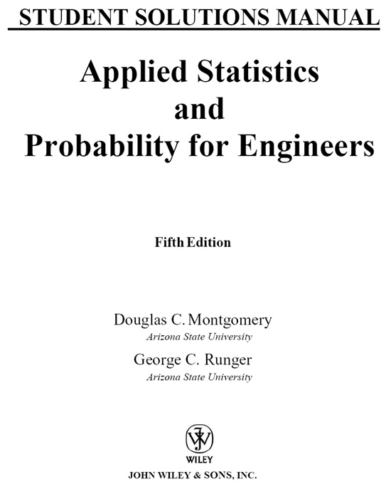 titlepage student solutions manual applied statistics and rh safaribooksonline com Shainin Statistical Engineering Genetic Engineering Statistics