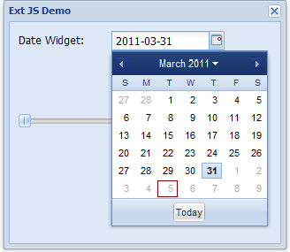 Ext JS window object, date picker, and slider (partially obscured)