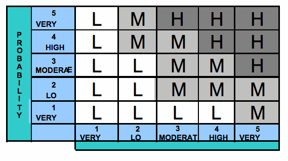 A standard risk matrix, image from the NASA Procedural Requirements.