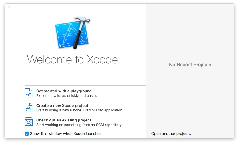 The Welcome to Xcode screen