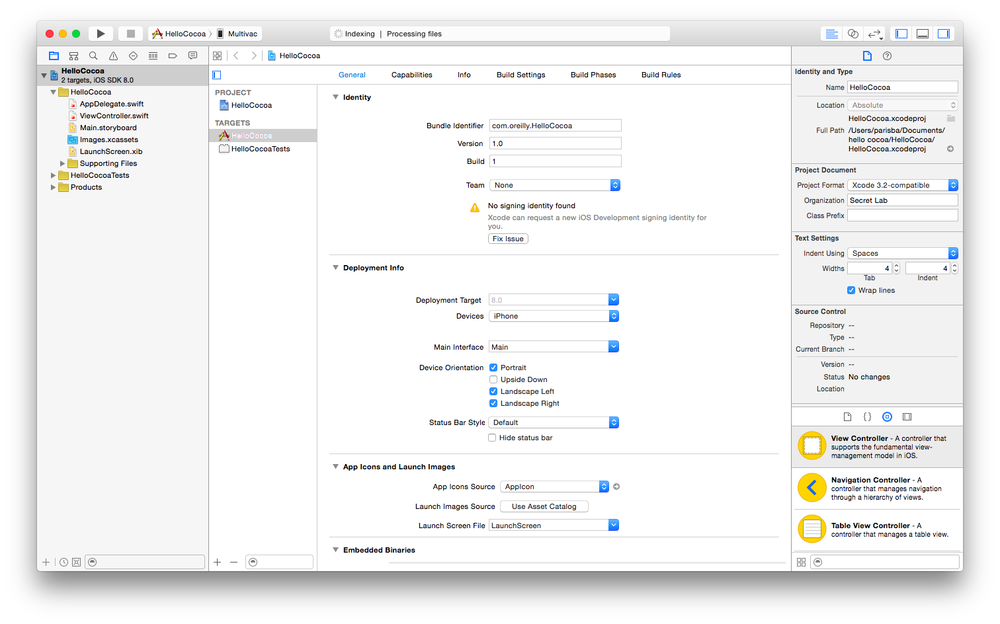 The entire Xcode interface