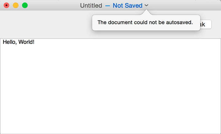 "The VocalTextEdit screen titled ""Untitled – Not Saved"" is shown. Below the title, a popup box reads: The document could not be autosaved."