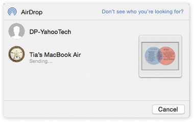 The icons of nearby AirDrop-friendly Apple gadgets and Macs show up in this fun-sized window. You've already said what you want to send; now you just have to specify who gets it. Click the destination device's icon and then click Send.