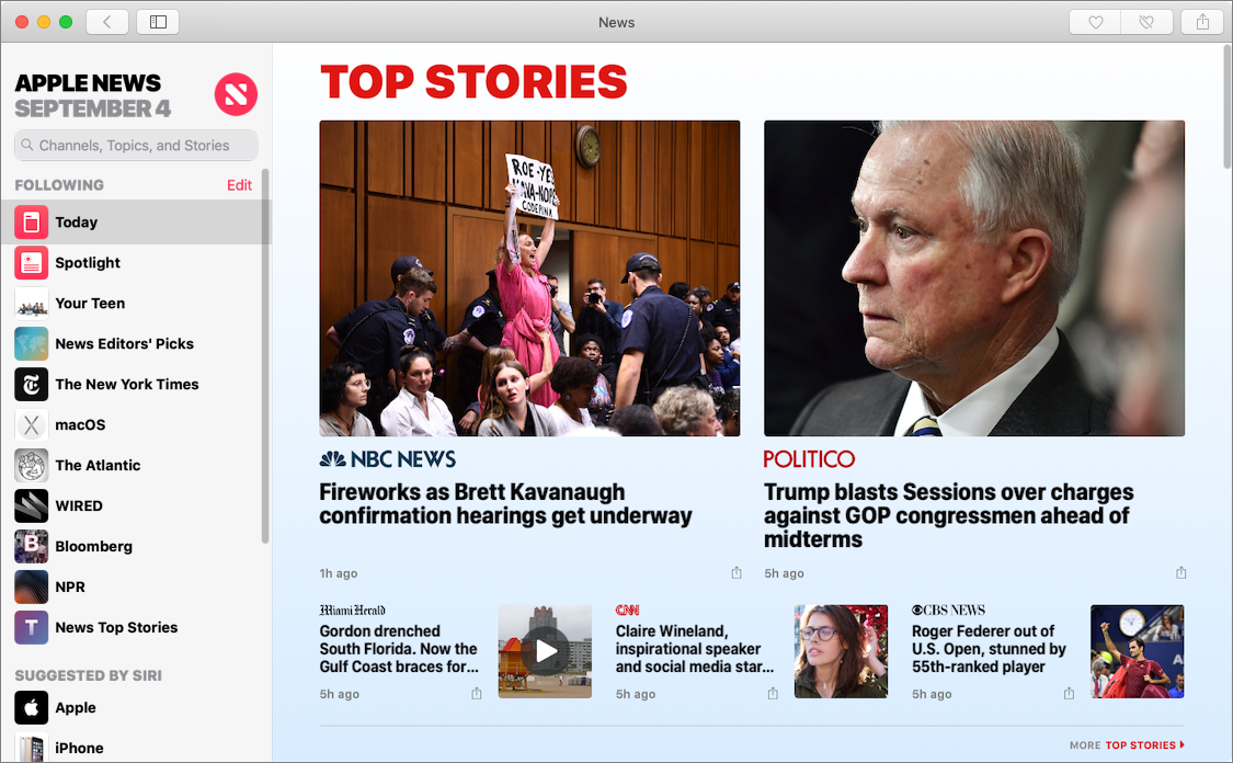 Figure 74: Mojave's News app looks a lot like the iOS version, but sports a new sidebar.