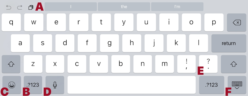 Figure 34: Here's an example keyboard layout from an iPad Pro in landscape typing in a web form in Safari. Keyboard shortcuts and the QuickType bar make typing on a touch screen easier.