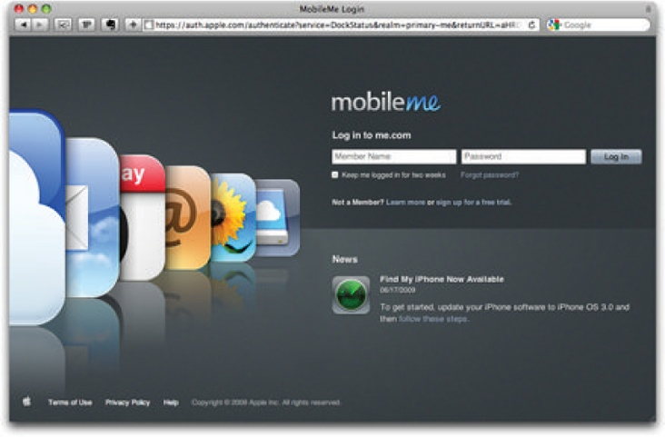The MobileMe login page, as it appears in Safari.