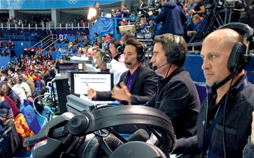 Figure 14.1 Former athletes are often chosen for the role of analyst since an in-depth knowledge of the sport is required. The commentator on the left is gold medalist Apollo Ono, commentating at the Sochi Winter Olympics.