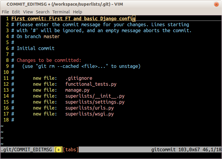 Screenshot of git commit vi window