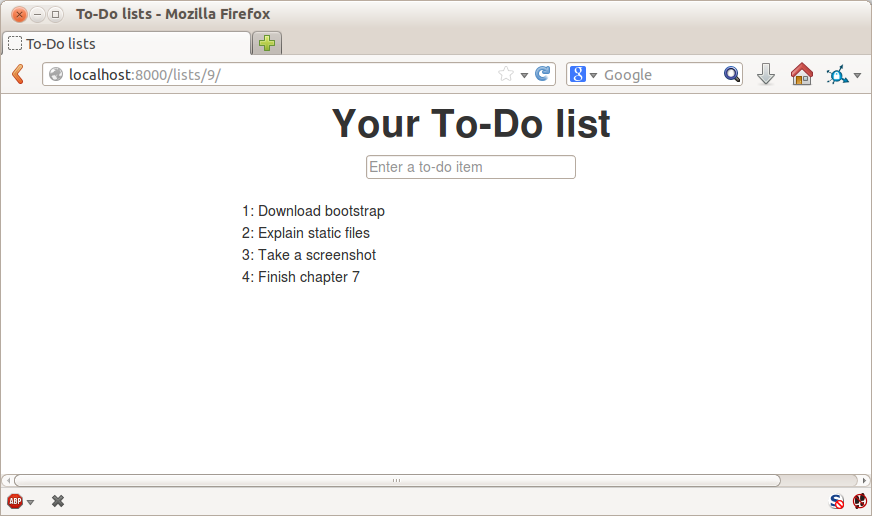 The list page with centered header