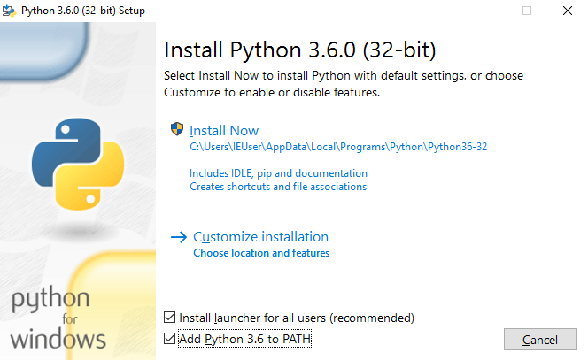 Screenshot of python installer