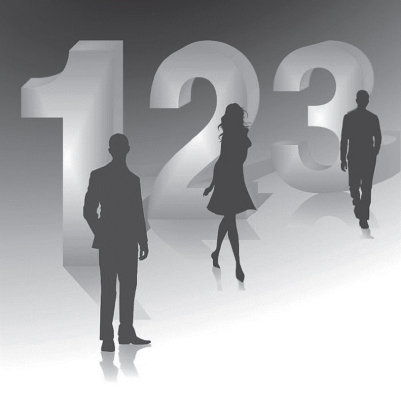 Illustration of the numbers 1, 2, and 3 (live size) with the silhouettes of a man, a woman, and another man standing infront of the numbers, respectively.