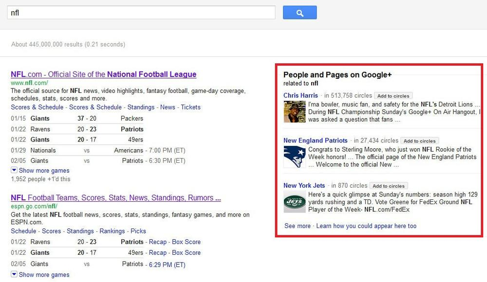 Google+ Brand Page for the NFL