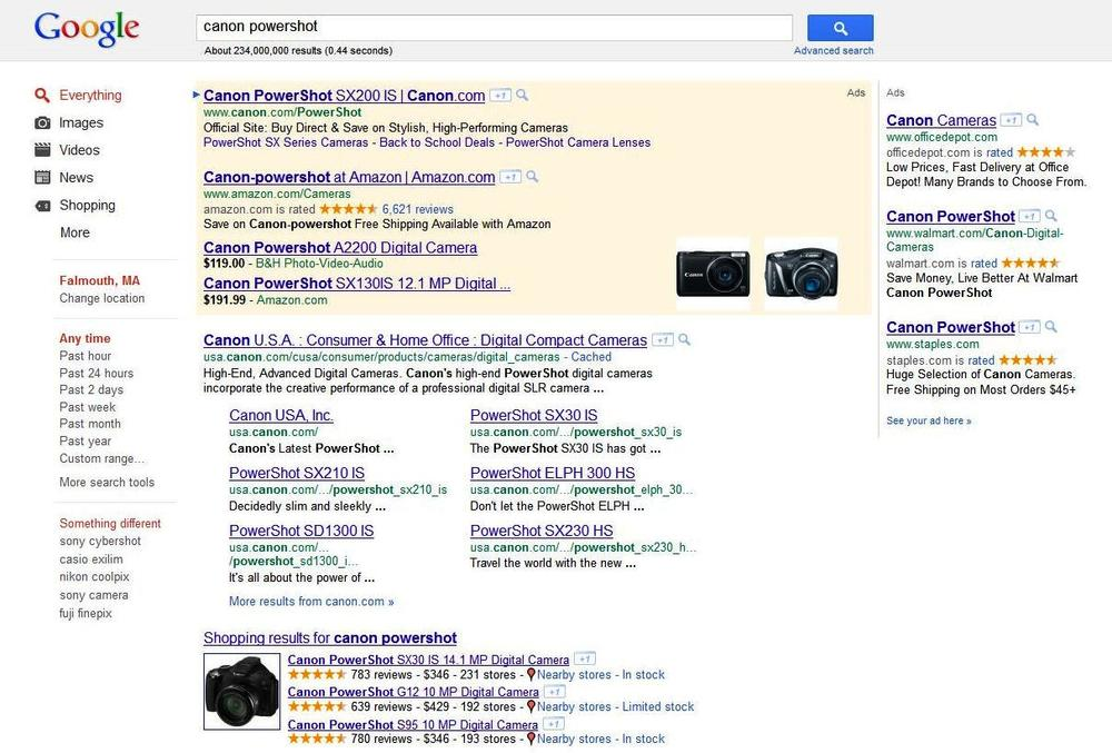 "Product Search onebox for ""canon powershot"""