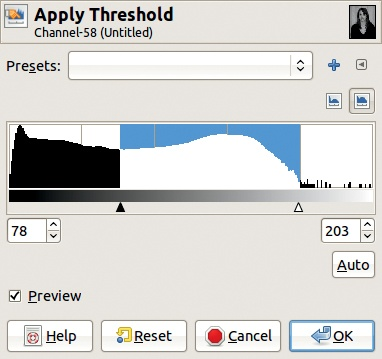 The Threshold tool dialog