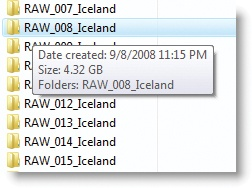 When you mouse over a folder in Vista, you can see the size of the folder, including all contents.