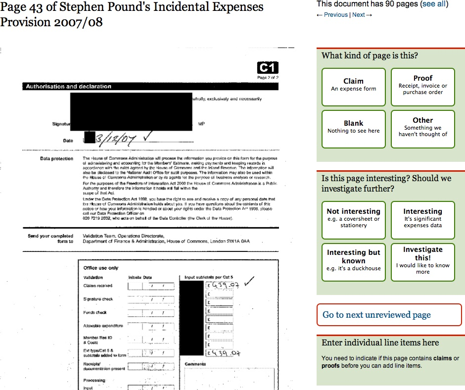 A redacted copy of Stephen Pound's incidental expenses (the Guardian)