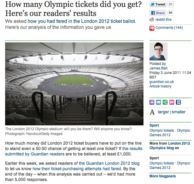 How many Olympic tickets did you get?: the readers' results (the Guardian)