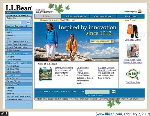 L. L. Bean gives customers a sense of familiarity because the categories on the site (left) are similar to what they find in L. L. Bean's physical stores and catalogs. The bright colors, clean layout and navigation, and picture in the center work together to draw people in.